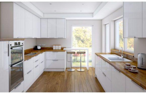 Glossy Kitchen Worktops and Kitchen Doorways